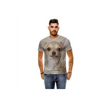 Camiseta Cachorro Chihuahua Bege Masculina Slim