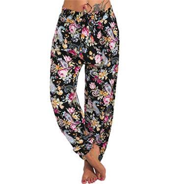 SAFTYBAY Calça de ioga harém para mulheres, calça boho, cintura franzida, calça harém tamanho grande, calça de praia de verão, calça boêmia (amarelo floral, G)