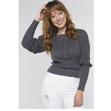 Suéter de Tricot Mangas Bufantes Gola Canoa Sob Cinza Chumbo (M)