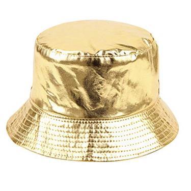 PRETYZOOM Chapéu de sol portátil com proteção solar para praia ao ar livre, chapéu de pescador, chapéu de viagem para mulheres, meninas, senhoras (dourado)