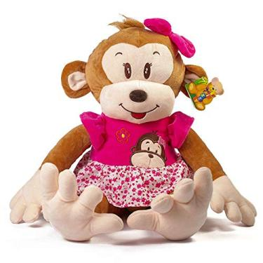 Imagem de Macaco Pelúcia Com Roupa Xadrez 62 Cm Grande Antialérgico