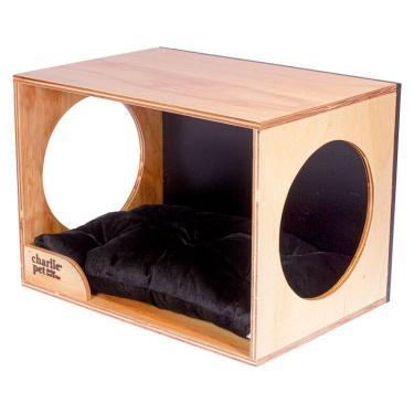 Cama Pet Cat-Charlie Pet - Madeira natural / Preto