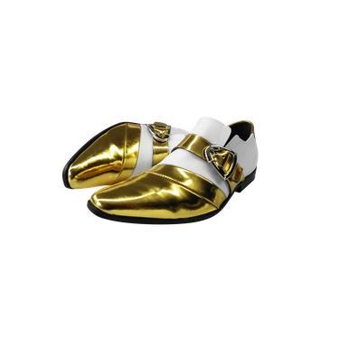Sapato Masculino Couro Dourado com Branco Brilho Ref: 415