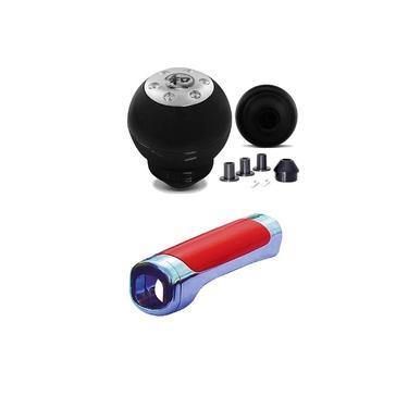 Imagem de Manopla Bola alavanca do Cambio Preta Com Capa aplique freio Vermelha com cromada GM S10 1980 1992 2005 2010 -2017 2008