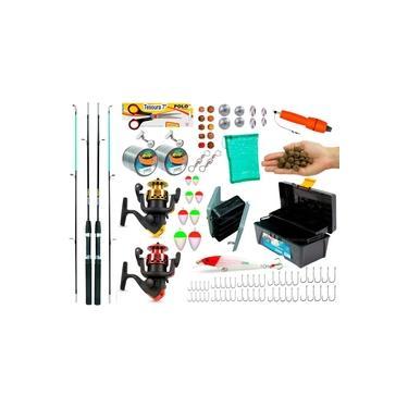 Kit De Pesca Completo 2 Varas 2 Molinetes 1 Caixa de Pesca e Acessórios (Ref. 04)