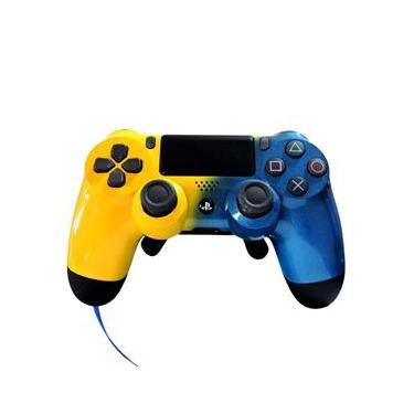 Controle Ps4 Pro Gamer Blue Yellow (Grip/Padlles/Trigger)
