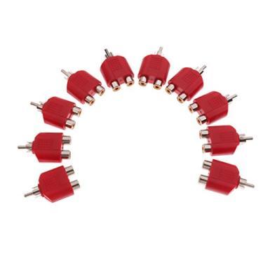 Homyl 10 Pcs Vermelho RCA Macho para 2RCA Fêmea Adaptador Divisor AV Vídeo Áudio RCA Plug