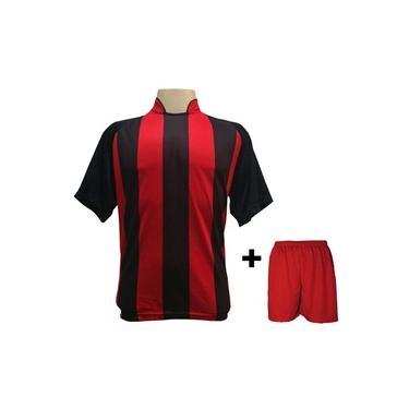 Uniforme Esportivo com 18 camisas modelo Milan Preto/Vermelho + 18 calções modelo Madrid + 1 Goleiro +