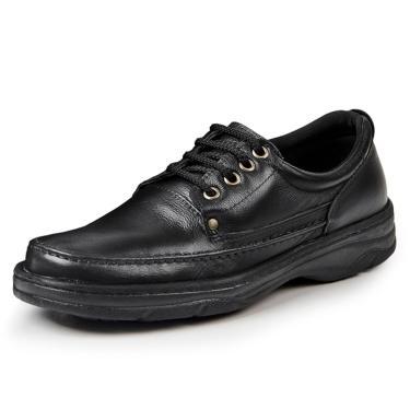Sapato Social Couro Bergally Ortopédico Pespontos Preto  masculino