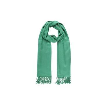 Echarpe Lisa Verde Bandeira Com Franja Viscose 180X70Cm