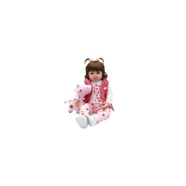 Imagem de Boneca Bebe Reborn Laura Baby Menina Realista de Silicone e Algodão 48cm e Girafinha