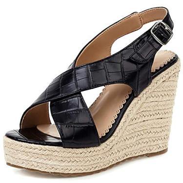 Odema sandália feminina plataforma plataforma de palha plataforma fivela sapatos, Preto, 6