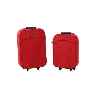 Conjunto de Malas 2 Pçs - TRV402 , 18 e 21 em Poliéster, Bolso Frontal 2 Rodas, Vermelha - Fixxar