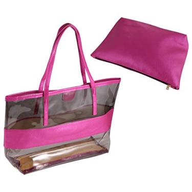 Imagem de CLISPEED Bolsa de ombro simples criativa feminina bolsa prática bolsa de praia impermeável transparente para uso ao ar livre com pequena bolsa (rosa)