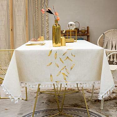Imagem de Jun Jiale Toalha de mesa bordada com borla - Toalha de mesa de linho de algodão à prova de poeira para cozinha, sala de jantar, festa, decoração de mesa de casa (retangular/oblongo, 130 x 190 cm, bordado terra dourado)