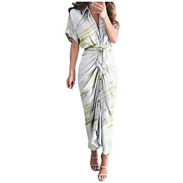 Imagem de SLENDIPLUS Vestido feminino casual com estampa de lapela, manga curta, vestido longo com botão e cinto, estilo 12, #012:branco, XXG