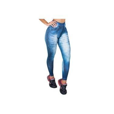 Calça Legging Jeans Fake Fitness Feminino Cintura Alta MVB Modas