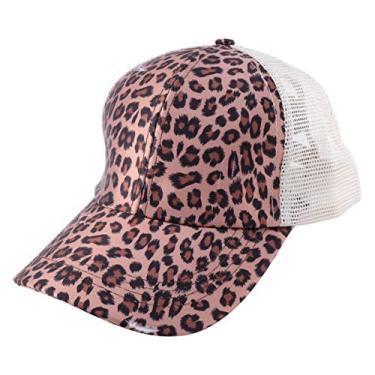 KESYOO Boné de beisebol com rabo de cavalo de malha ajustável Trucker Coque de algodão lavado com estampa de leopardo e cruzado para mulheres e meninas, Leopardo, 28×18×14CM