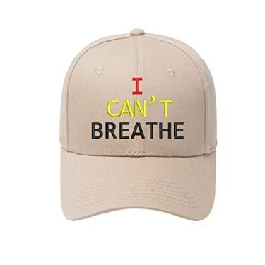 Boné de beisebol I Can't Breathe – Boné de caminhoneiro clássico com fecho ajustável para homens e mulheres ao ar livre, máscara facial, camisa, cáqui, tamanho �nico