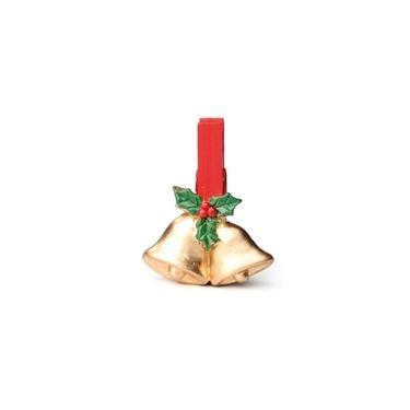 Prendedor Sino Dourado Natal 6 Pçs 4Cm Vermelha