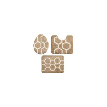 Imagem de Jogo de Tapetes para Banheiro 3 Peças Jolitex Absolut Element Pérola