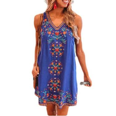 Vestido midi feminino sem manga com gola V YYear com estampa casual totem Shift, Azul, S