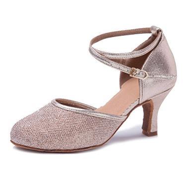 HIPPOSEUS Sapato de dança de salão de festa de desempenho tango salsa latino fechado bico fechado Sapatos de dança de casamento, modelo WX, Champagne Gold-2.75inch, 5.5