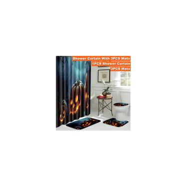 Imagem de 1/3/4 pcs Abóbora de Halloween Impresso Conjunto de Banheiro Cortina de Chuveiro à Prova D 'Água Antiderrapante Tapetes de Banho Tampa de Assento Do Vaso Sanitário Tapetes de Tapete Colorido Casa de Banho Decoração