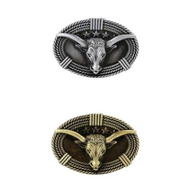 oshhni 2 PCS Cow Boi Head Retro Belt Fivela Western Cowboy Jeans Fivela Bronze +
