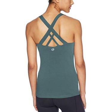 Sutiã esportivo feminino Running Girl com alças acolchoadas cruzadas nas costas, sutiã esportivo com suporte médio para yoga com bojos removíveis, C - Verde escuro, S