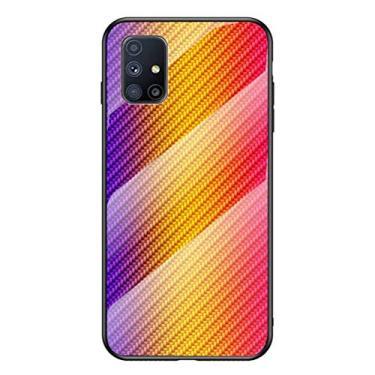 YINCANG Capa Galaxy M51 Case,Estampa de Fibra de Carbono + Bumper de TPU Macio + Capa de Vidro Temperado Transparente Para Samsung Galaxy M51-Ouro