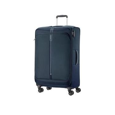 Mala de Bordo Pequena para Viagem em Poliéster SAMSONITE Popsoda Cadeado TSA e Rodas Duplas Azul