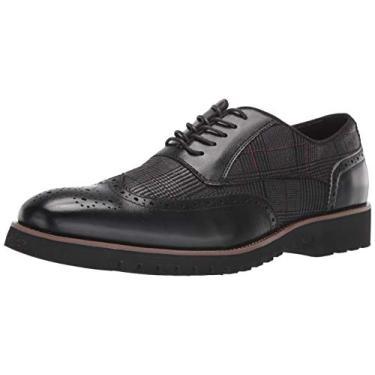 Sapato Oxford Stacy Adams, masculino, Baxley, com ponta de asa, Preto, 15