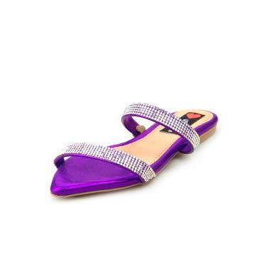Sandalia Love Shoes Rasteira Bico Folha Strass Delicada Roxo  feminino