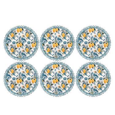 Imagem de Conjunto 6 Pratos Rasos 26cm Oxford Unni Siciliano Branco/Azul Oxford
