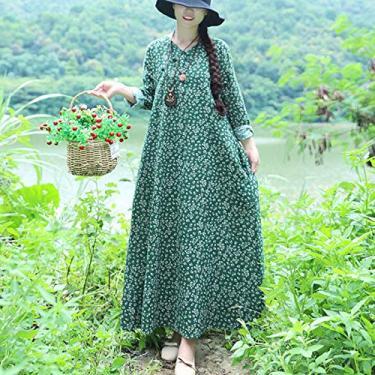 Cópia Da Flor,Baugger Mulheres do vintage dress flor floral impressão balanço manga comprida cheongsam mandarim robe vestido maxi one-piece