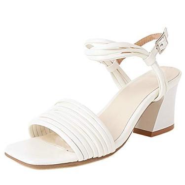 Imagem de SaraIris Sandálias de verão femininas com tira no tornozelo, sandália de salto grosso e confortável, para escritório, 2 Branco, 9.5