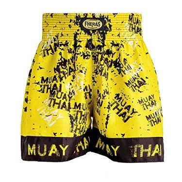 Shorts Boxe Muay Thai Fheras Training Grafite Amarelo G