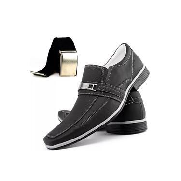 Sapato Social Casual Neway Florense Masculino Preto + 1 Cinto