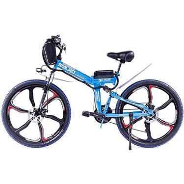 Imagem de PLAYH Bicicleta de montanha elétrica dobrável para adultos, bateria de lítio de 48 V/8 Ah, bicicleta de 66 polegadas com amortecedor integrado completo (cor: B)
