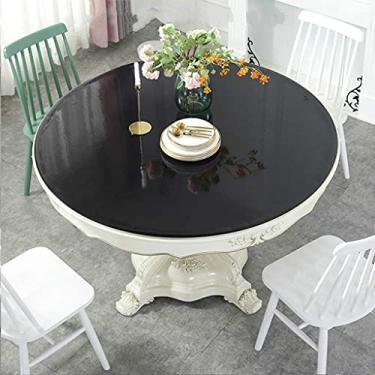 Imagem de Toalha de mesa Capa protetora redonda de plástico fosco de vinil limpável PVC circular 80 cm, toalha de mesa para café de jantar, toalha de mesa Protetor de móveis Eco, capa protetora de mes
