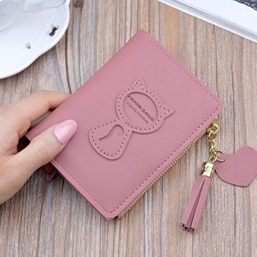 WooDlan carteira curta feminina com zíper coreano fivela pequena carteira simples multifuncional bolsa de moedas com borla em arco rosa escuro (preço único)