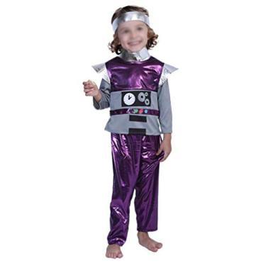 Imagem de TOYANDONA Fantasia de Robô Infantil Cosplay Engenheiro Robô Roupa de Vestir Acessórios de Desempenho para Carnaval Aniversários Tamanho M (5-6 Anos), Roxo
