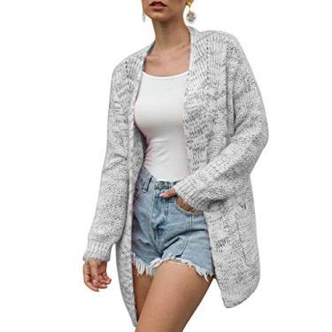 Cardigã suéter, feminino, manga morcego, manga morcego, tecido de pipoca, grande, suéter de ovelha, cardigã aberto na frente com bolsos, Bege, M
