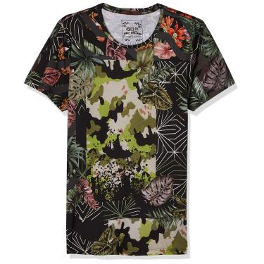 Colcci Camiseta Slim Full Print: Estampada, G, Preto/Verde/Bege/Vermelho/Marrom/Rosa/Laranja/Off/Cinza