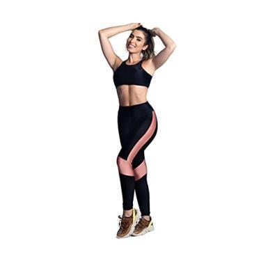 Imagem de Conjunto Fitness Poliamida Calça Legging e Top com Bojo Cor:Preto;Tamanho:G;Gênero:Feminino
