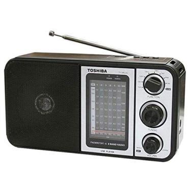 Rádio Toshiba Retro TY-HRU30 FM/AM Entrada USB -MP3 Digital Sound- LED indicador de sinalização Preto 220V ou Pilhas