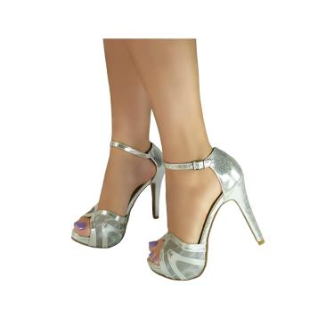 Sandália Salto Alto Bellatotti Cromata Prata  feminino