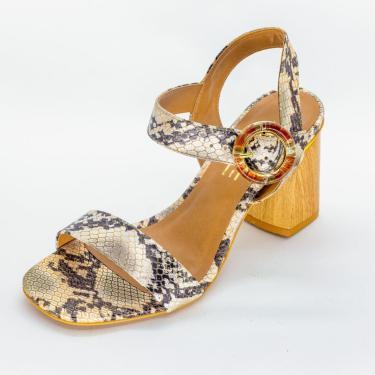 Sandália Vértice Salto Grosso De Madeira Snake Dourado  feminino
