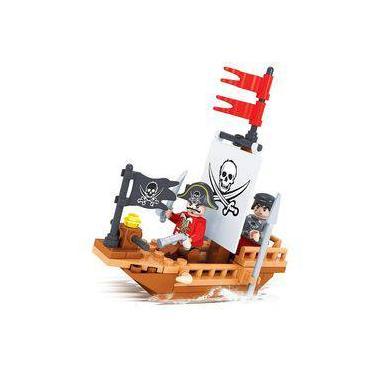 Brinquedo Barco Pirata Para Montar Cx Com 66